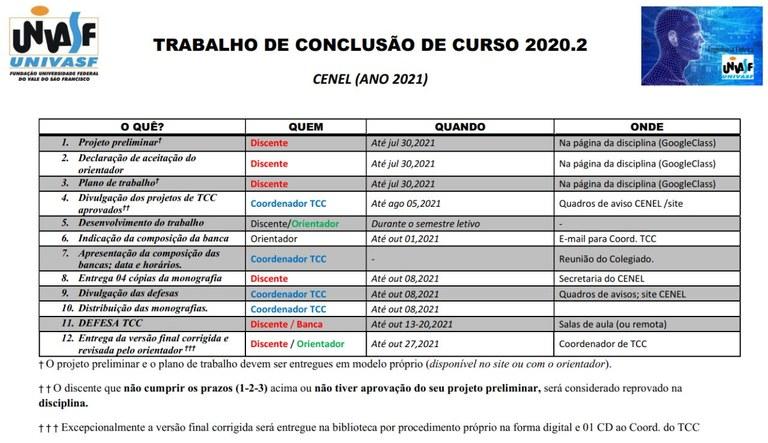 Calendário do TCC 2020.2