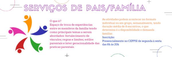 Inscrições abertas: Serviços de Pais/Família