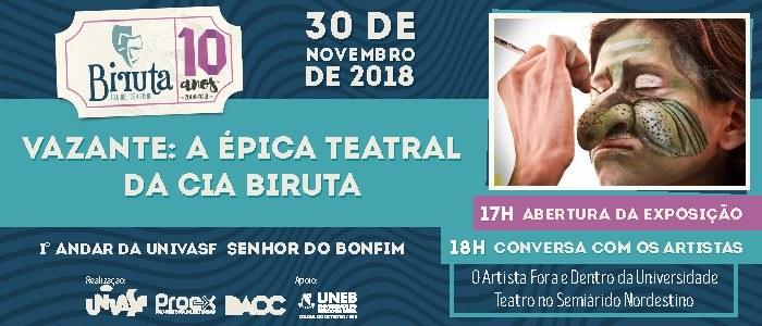 """Exposição """"Vazante: a épica teatral da Cia Biruta"""" inicia temporada no Campus Senhor do Bonfim"""