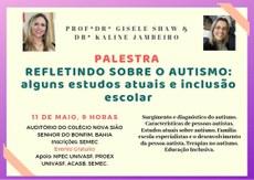 A palestra será realizada no dia 11 de maio, a partir das 9h, no Auditório da Escola Nova Sião.