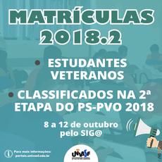 Serão realizadas as matrículas dos veteranos e dos classificados na segunda etapa do PS-PVO 2018.