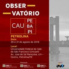 Observatório CAU discutirá diversas temáticas sobre arquitetura e urbanismo.