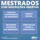 As seleções são para Ciências Veterinárias no Semiárido, Ciência Animal, Recursos Naturais do Semiárido e Ciências da Saúde e Biológicas.