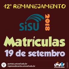 Matrículas do 12º Remanejamento ocorrerão em 19 de setembro.