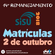 Matrícula dos convocados será realizada em 2 de outubro.