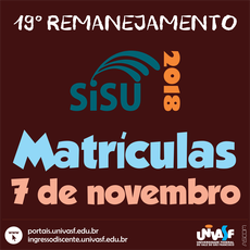 Matrícula do 19º Remanejamento será no dia 7 de novembro.