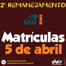 A matrícula dos convocados no 2º Remanejamento será realizada em 5 de abril.