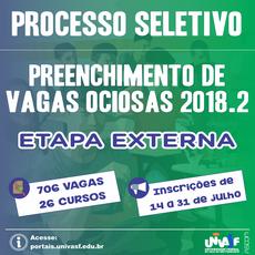 As inscrições para a etapa externa do PS-PVO 2018.2 serão realizadas de 14 a 31 de julho.
