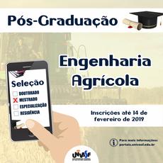 Inscrições para Mestrado em Engenharia Agrícola vão até 14 de fevereiro de 2019.