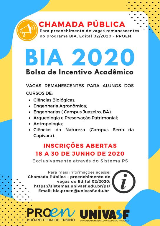 Chamada Pública para preenchimento de vagas remanescentes no programa BIA, Edital 02/2020 - PROEN