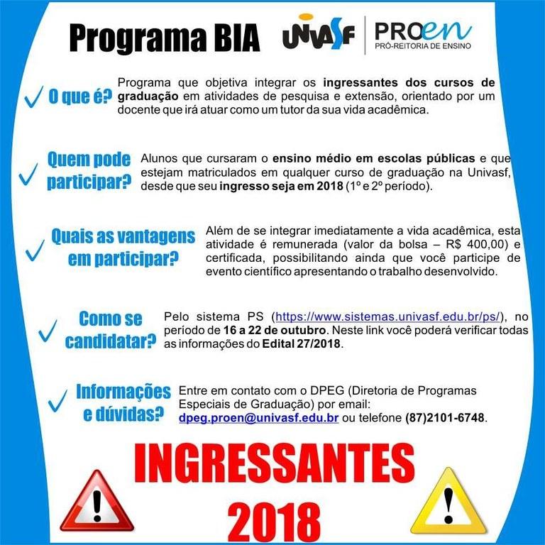Programa BIA Univasf