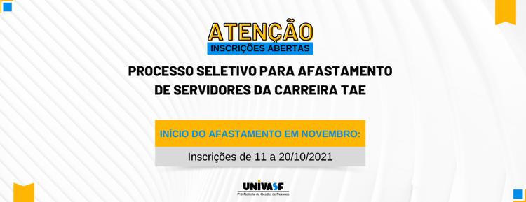 Ciclo de Novembro - Processo Seletivo para Afastamento de Servidores da Carreira TAE 2021 - 2 semestre