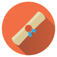 Ilustração: Sobre círculo laranja, um diploma.