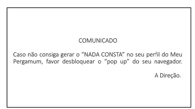 COMUNICADO DA EMISSÃO DO NADA CONSTA