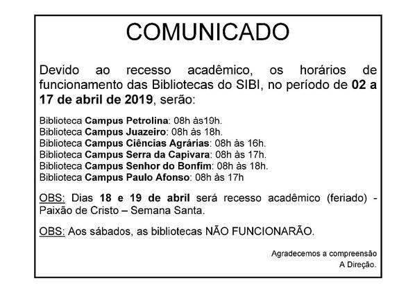 Recesso Acadêmico e Semana Santa 2019