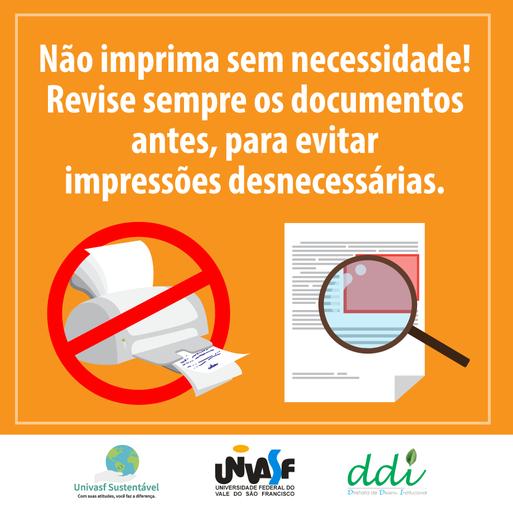 Campanha Univasf Sustentável 2016 - Papel