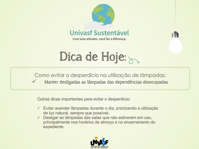 Campanha Univasf Sustentável 2015 - Luz